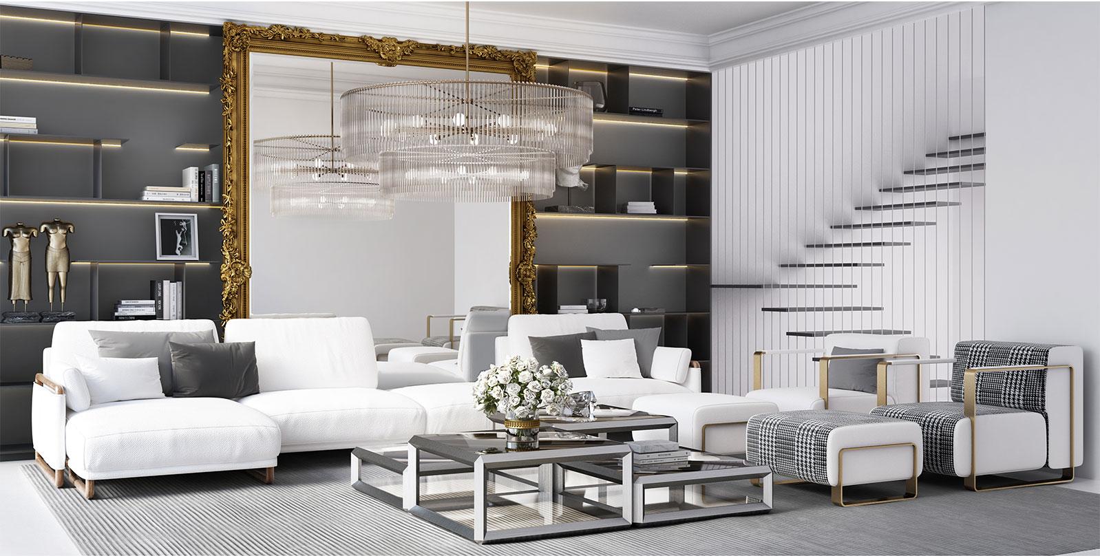 Decor Beverly Hills living room rendering