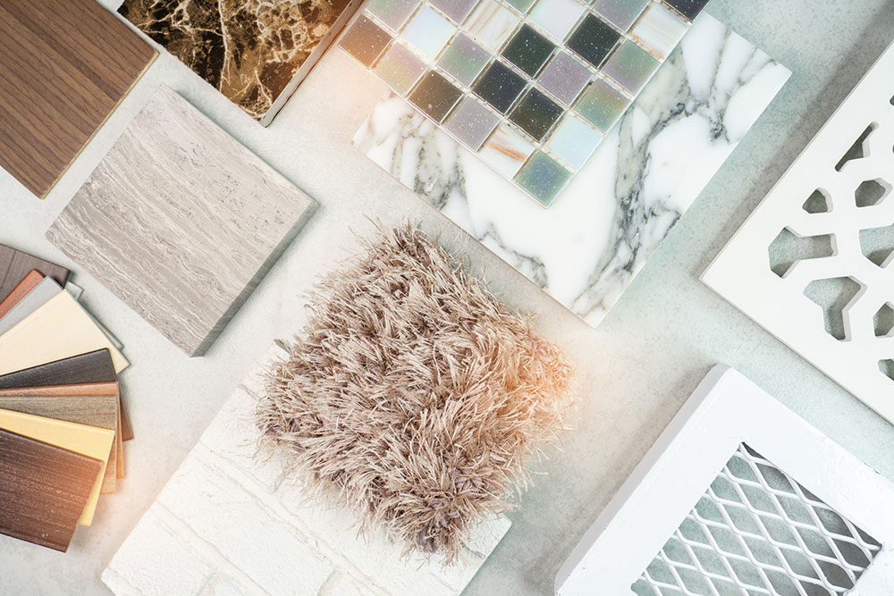 various samples on interior design board